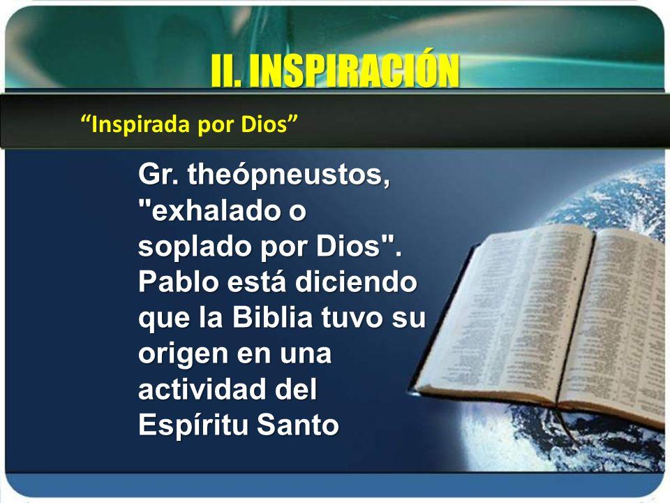 II. INSPIRACIÓN Inspirada por Dios
