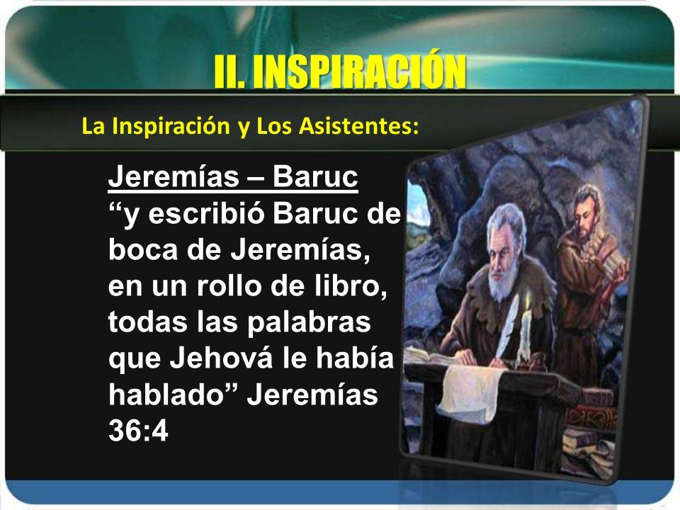II. INSPIRACIÓN Jeremías – Baruc
