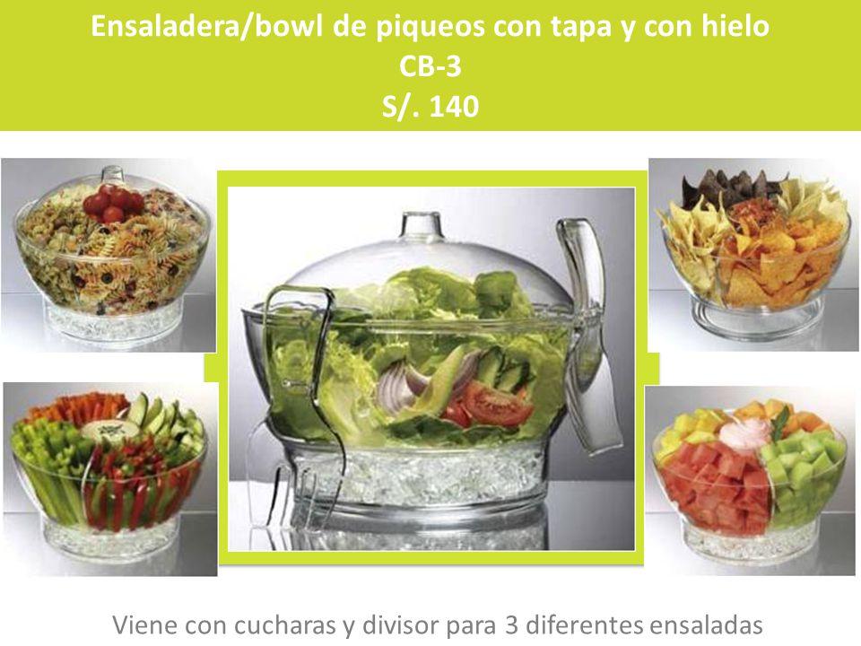 Ensaladera/bowl de piqueos con tapa y con hielo