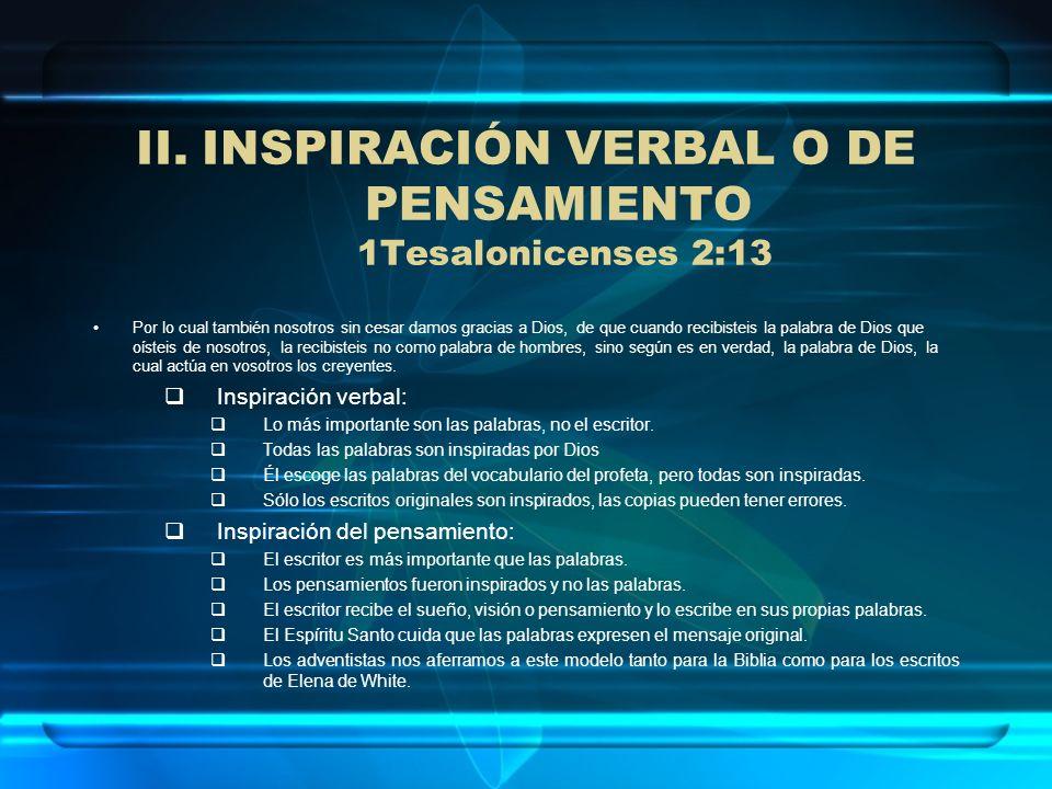 INSPIRACIÓN VERBAL O DE PENSAMIENTO 1Tesalonicenses 2:13