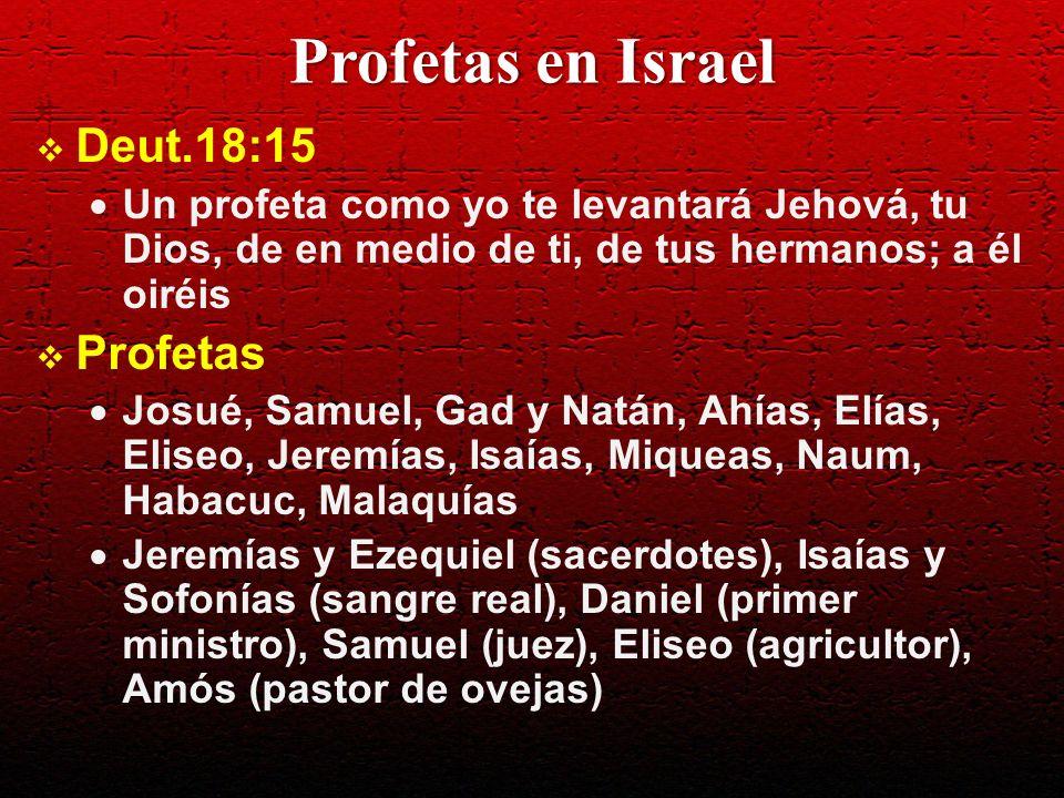 Profetas en Israel Deut.18:15 Profetas