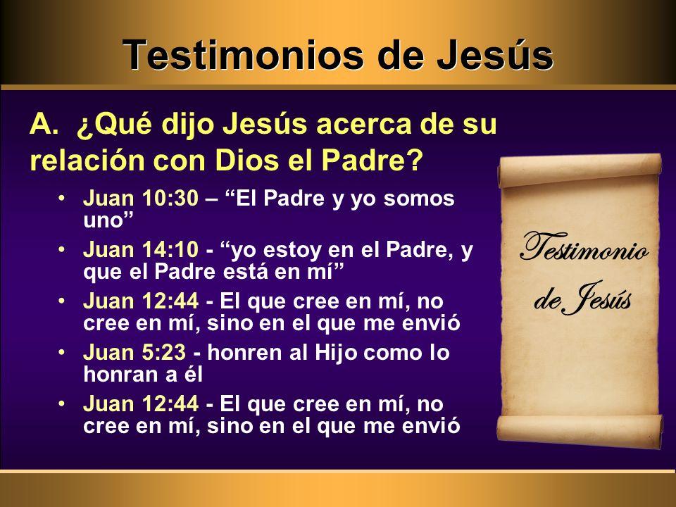Testimonios de Jesús Testimonio de Jesús