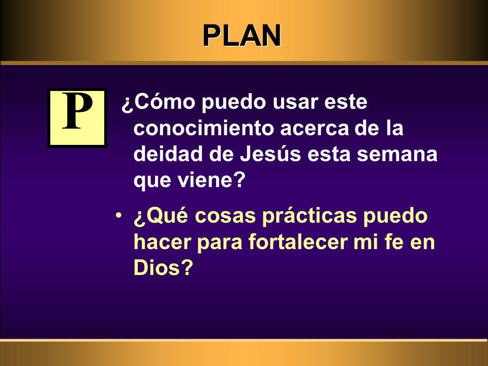 PLAN ¿Cómo puedo usar este conocimiento acerca de la deidad de Jesús esta semana que viene P.