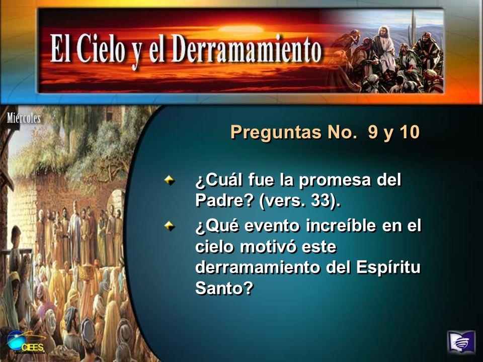 Preguntas No. 9 y 10 ¿Cuál fue la promesa del Padre (vers. 33).