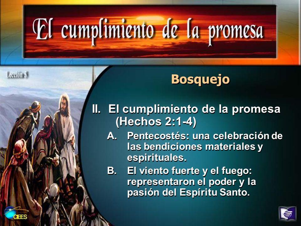 Bosquejo II. El cumplimiento de la promesa (Hechos 2:1-4)