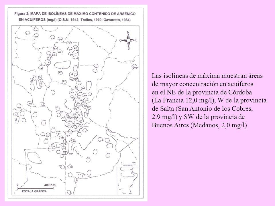 Las isolíneas de máxima muestran áreas. de mayor concentración en acuíferos. en el NE de la provincia de Córdoba.