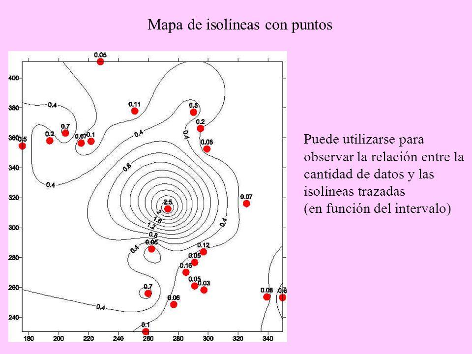 Mapa de isolíneas con puntos
