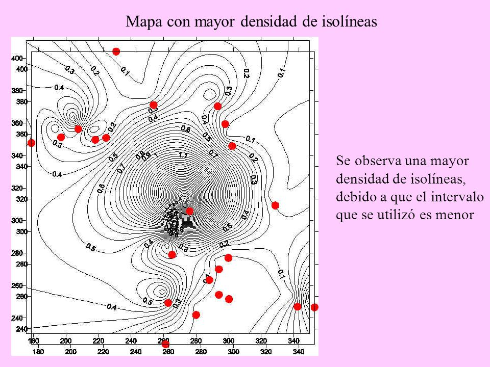 Mapa con mayor densidad de isolíneas