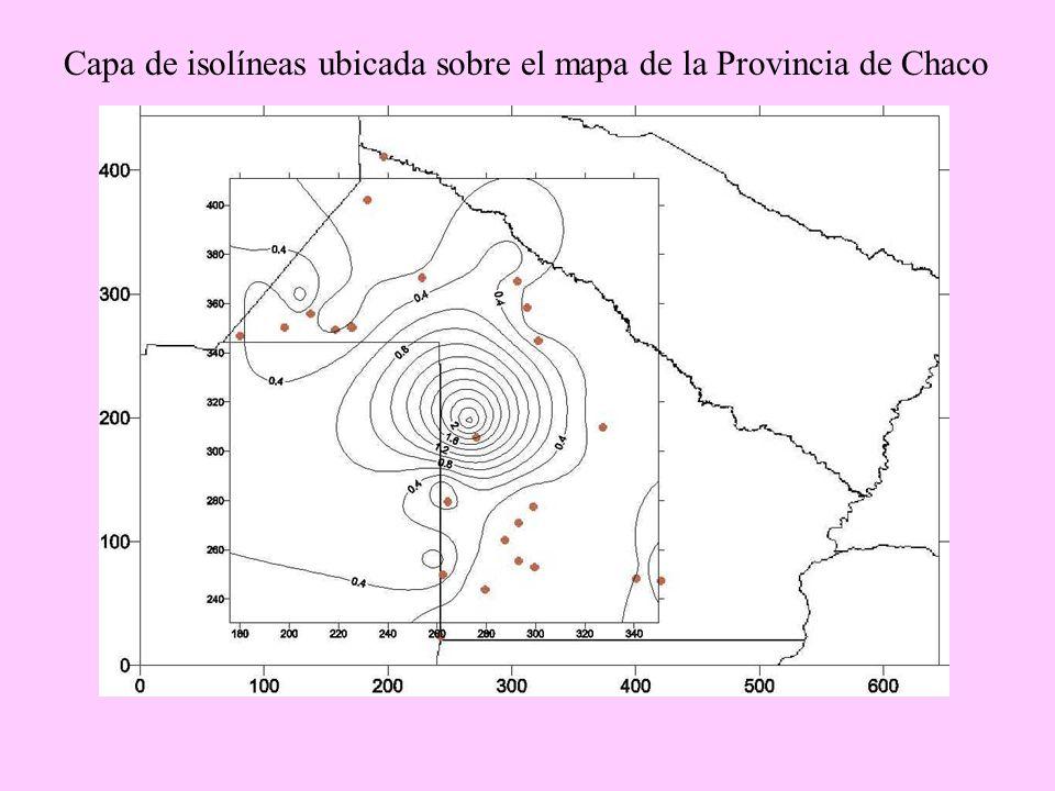 Capa de isolíneas ubicada sobre el mapa de la Provincia de Chaco