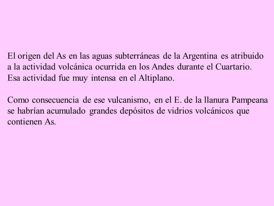 El origen del As en las aguas subterráneas de la Argentina es atribuido