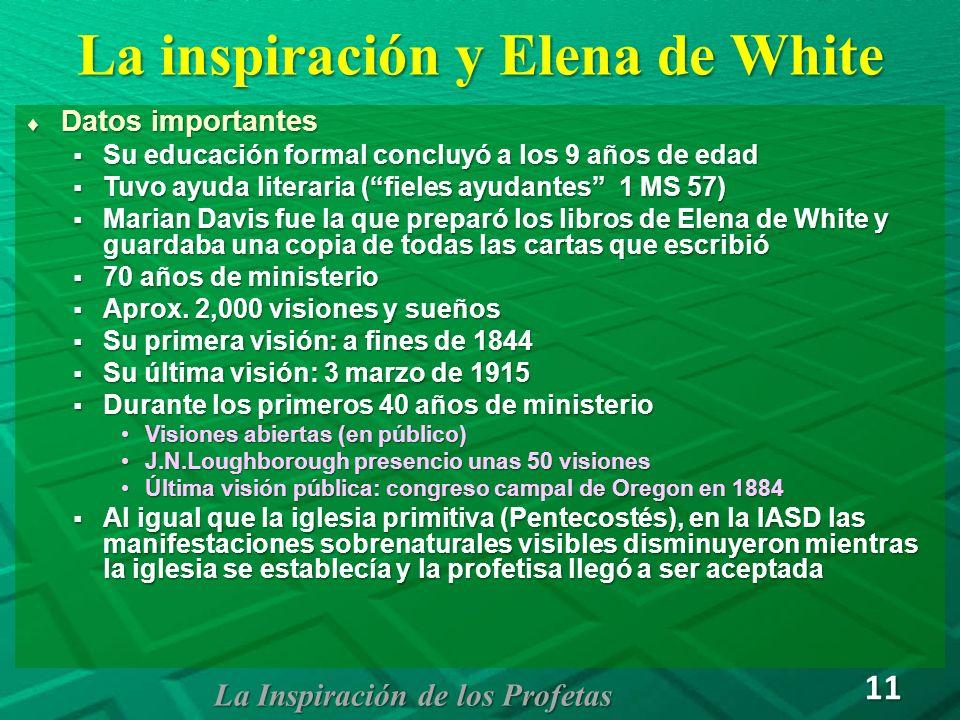 La inspiración y Elena de White