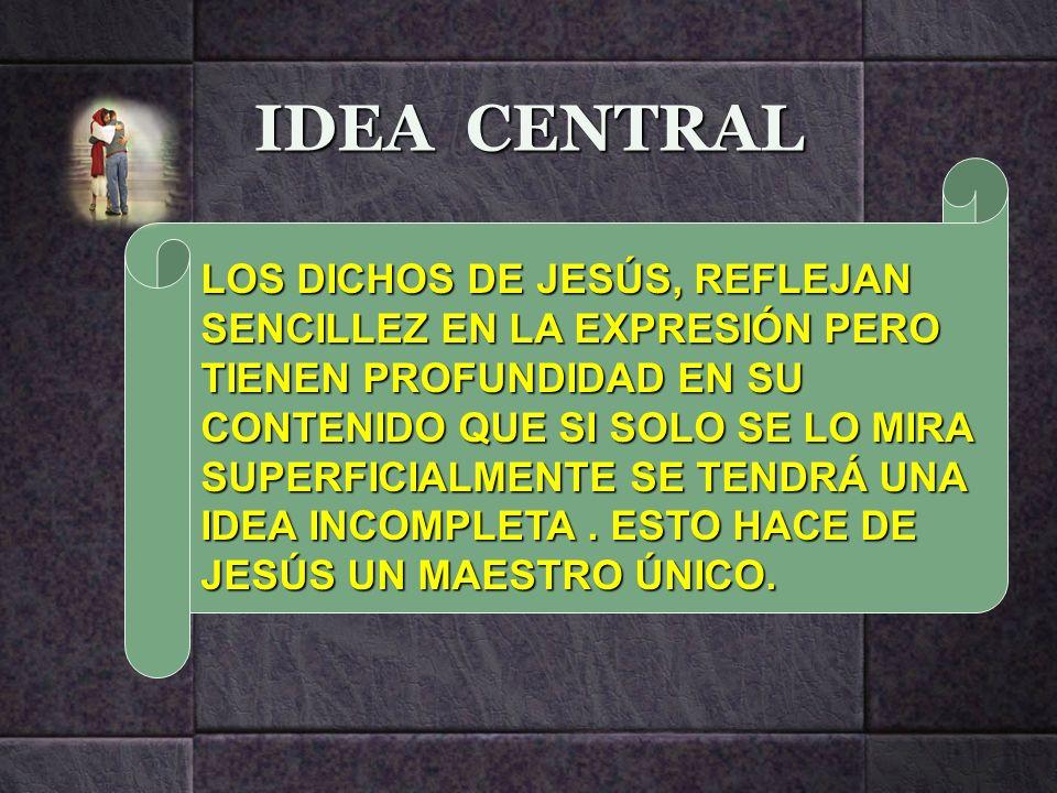 IDEA CENTRAL LOS DICHOS DE JESÚS, REFLEJAN