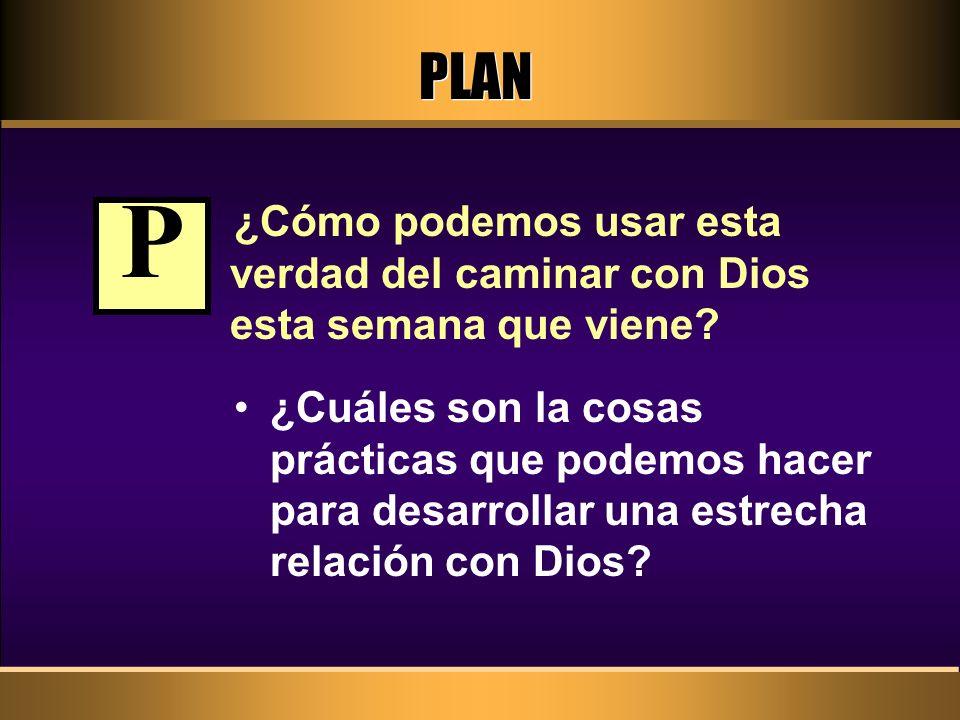 PLAN ¿Cómo podemos usar esta verdad del caminar con Dios esta semana que viene P.