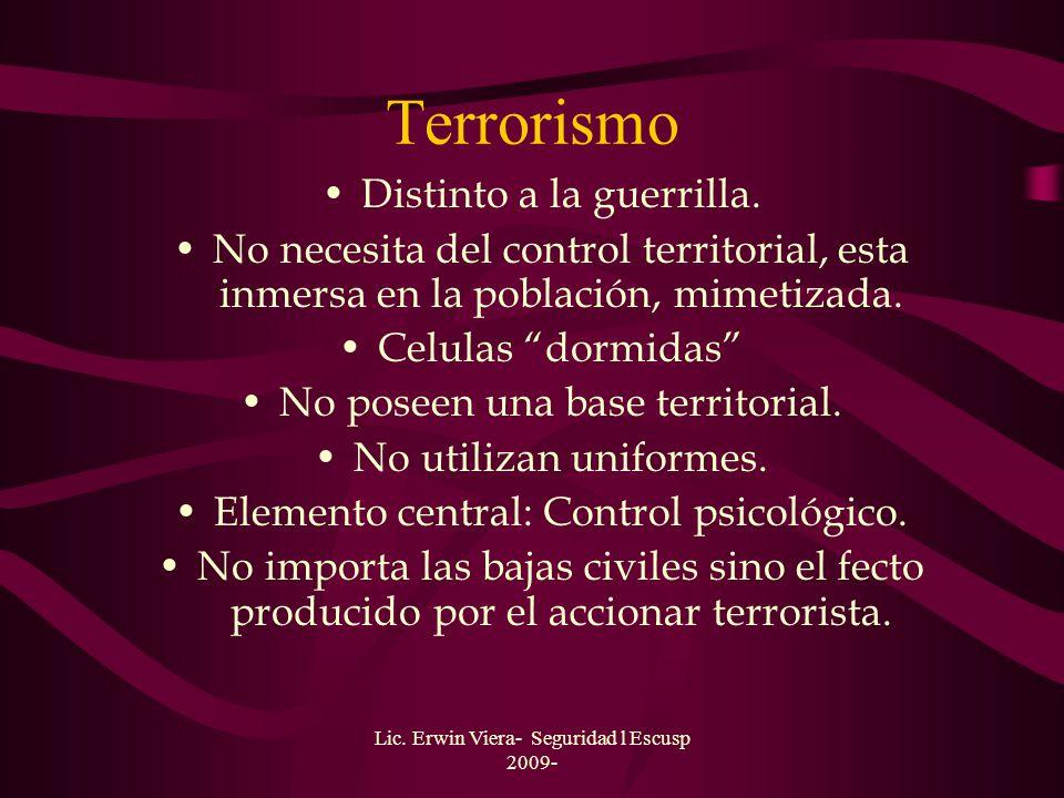 Terrorismo Distinto a la guerrilla.