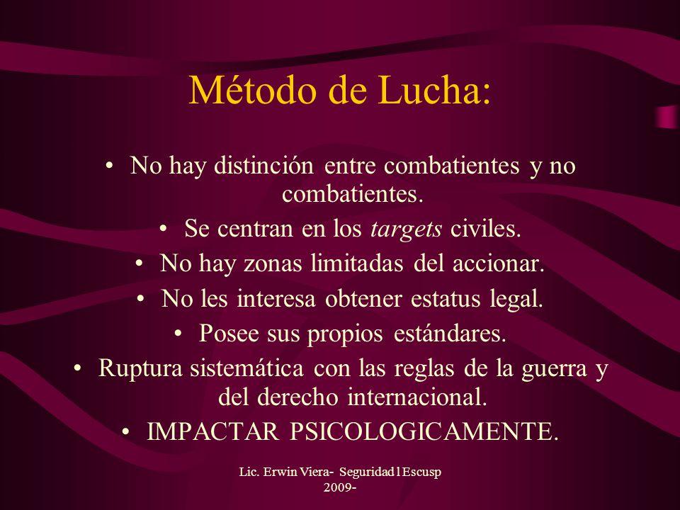 Método de Lucha: No hay distinción entre combatientes y no combatientes. Se centran en los targets civiles.