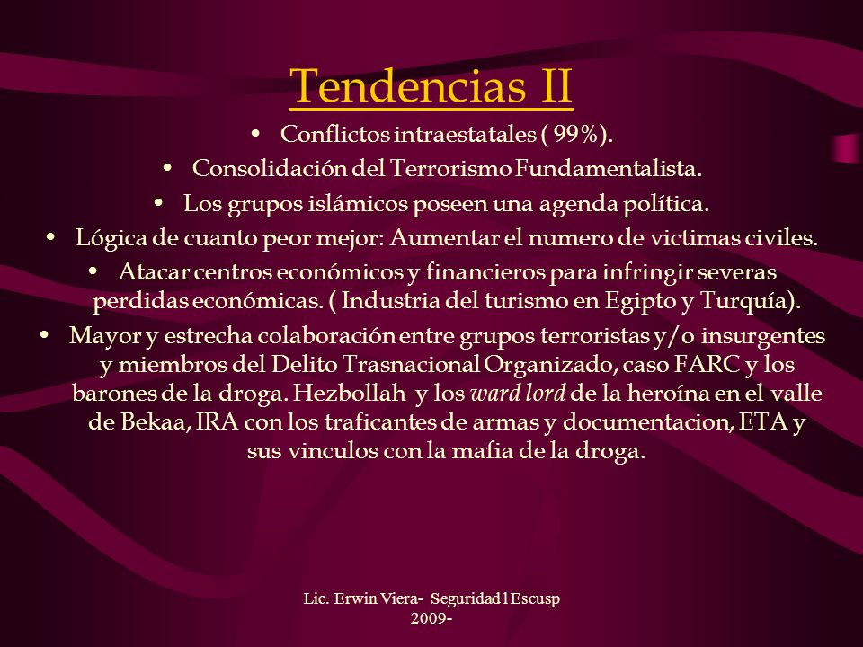 Tendencias II Conflictos intraestatales ( 99%).