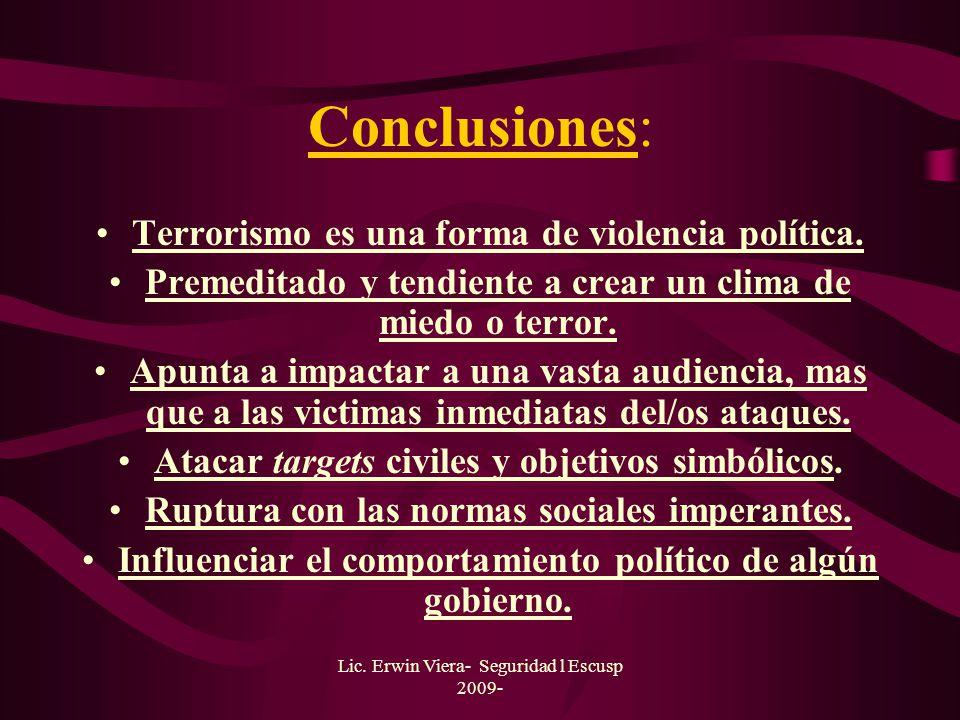 Conclusiones: Terrorismo es una forma de violencia política.