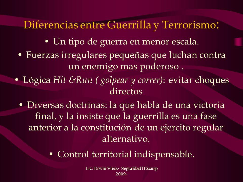 Diferencias entre Guerrilla y Terrorismo: