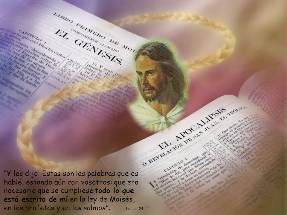 Y les dijo: Estas son las palabras que os hablé, estando aún con vosotros: que era necesario que se cumpliese todo lo que está escrito de mí en la ley de Moisés, en los profetas y en los salmos .