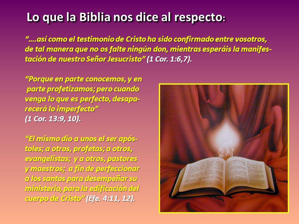 Lo que la Biblia nos dice al respecto: