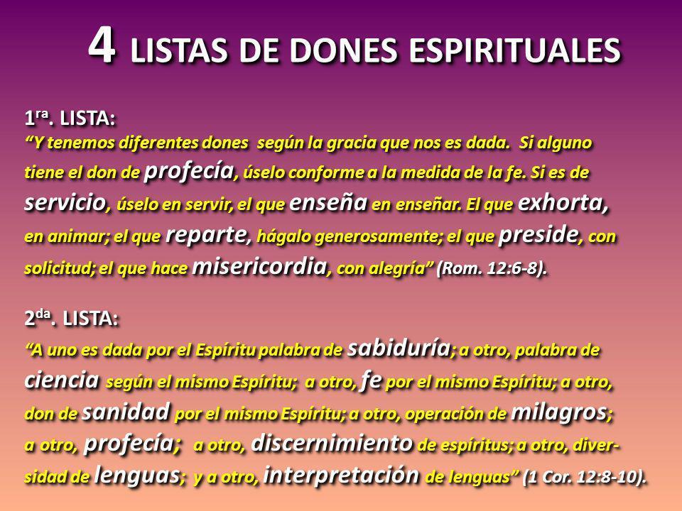 4 LISTAS DE DONES ESPIRITUALES