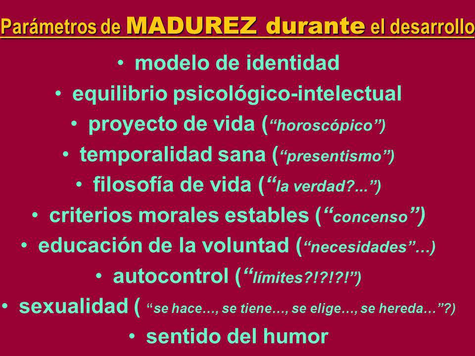 Parámetros de MADUREZ durante el desarrollo
