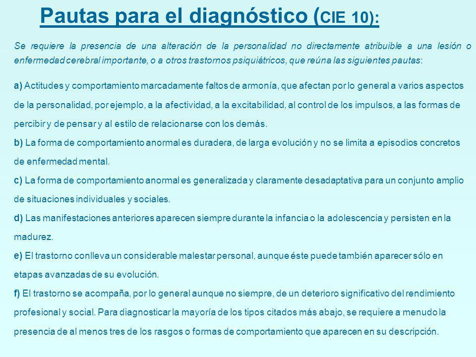 Pautas para el diagnóstico (CIE 10):