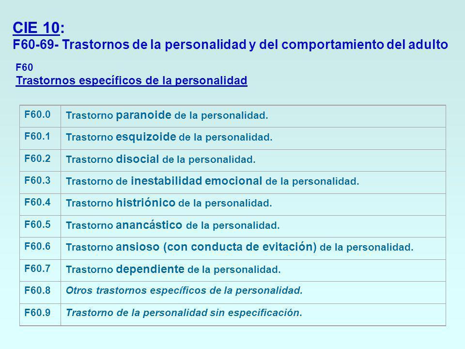 CIE 10: F60-69- Trastornos de la personalidad y del comportamiento del adulto. F60 Trastornos específicos de la personalidad.
