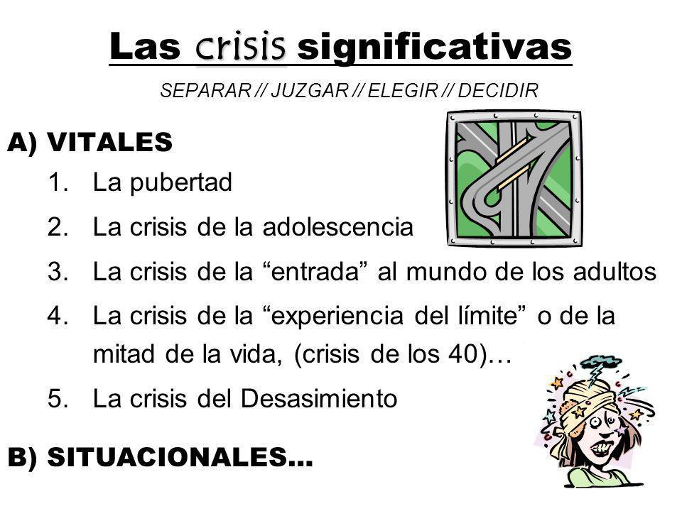 Las crisis significativas SEPARAR // JUZGAR // ELEGIR // DECIDIR A) VITALES