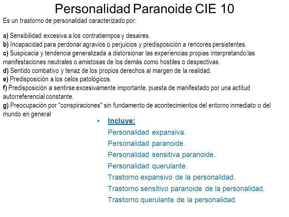 Personalidad Paranoide CIE 10