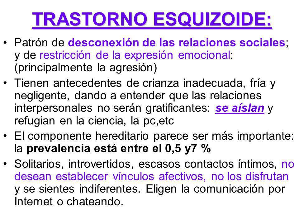 TRASTORNO ESQUIZOIDE: