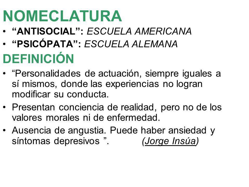 NOMECLATURA DEFINICIÓN ANTISOCIAL : ESCUELA AMERICANA