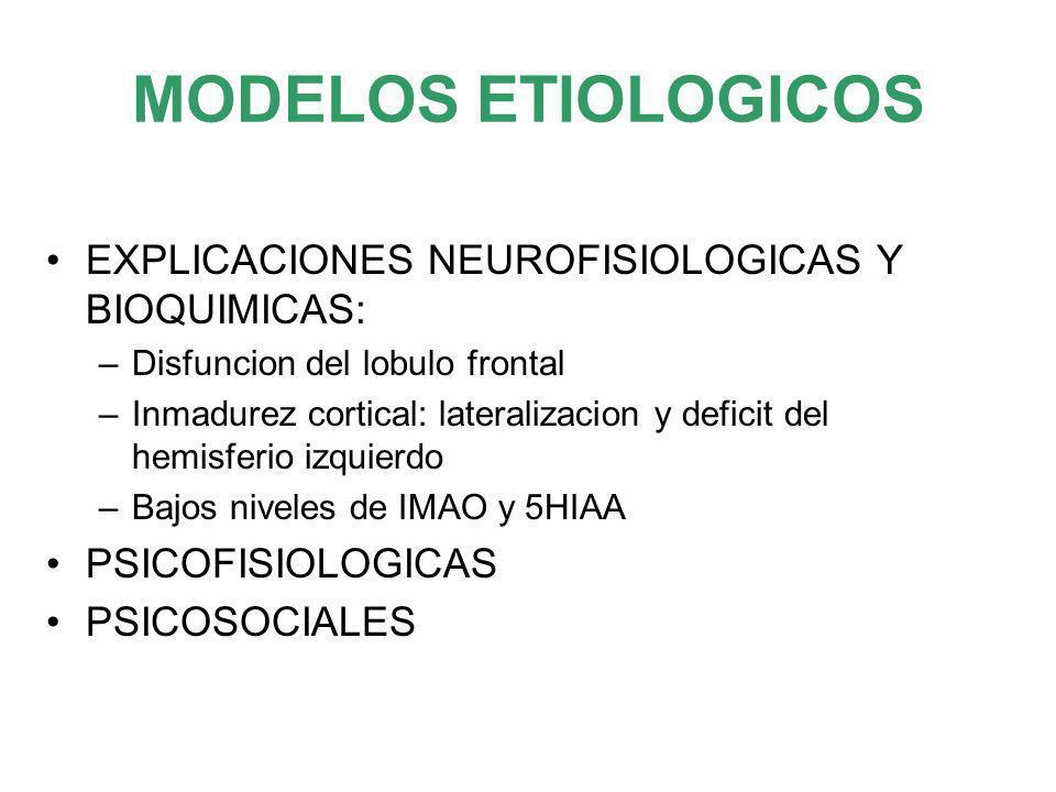 MODELOS ETIOLOGICOS EXPLICACIONES NEUROFISIOLOGICAS Y BIOQUIMICAS: