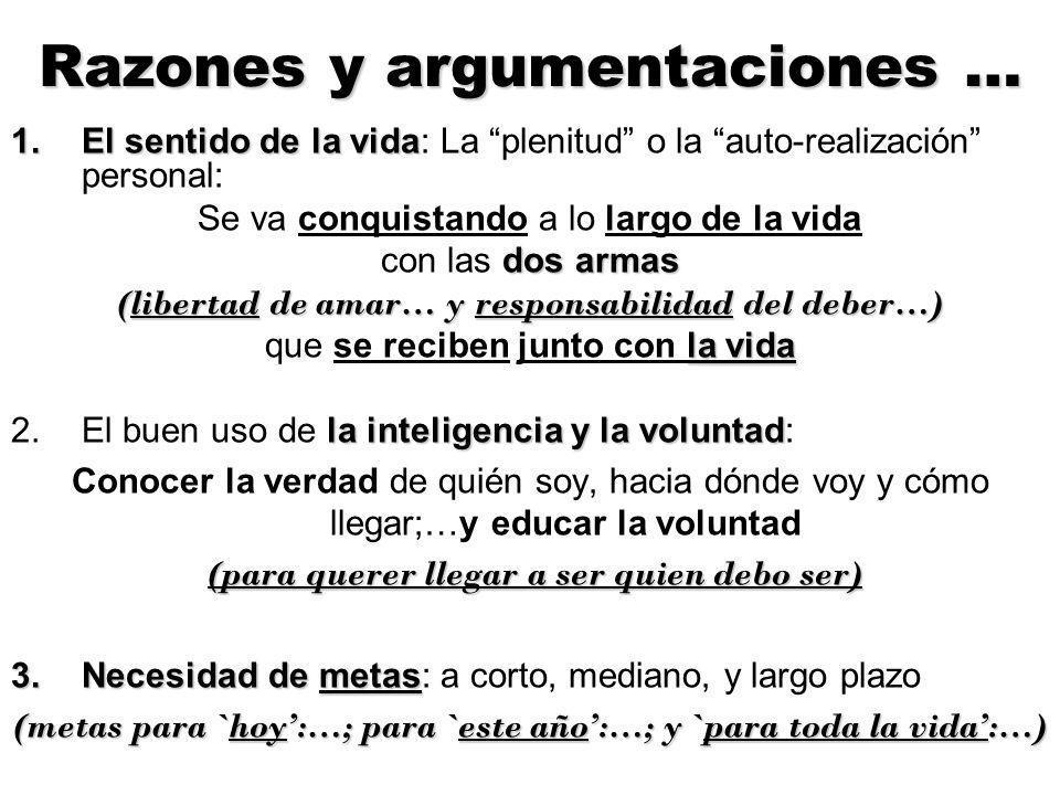 Razones y argumentaciones …