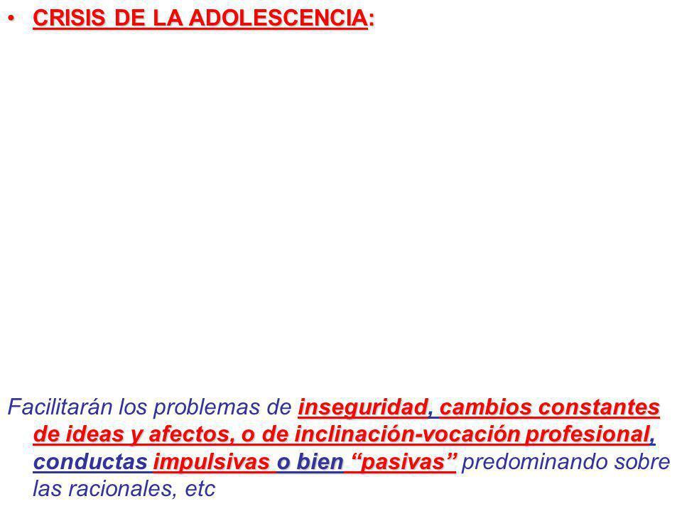 CRISIS DE LA ADOLESCENCIA: