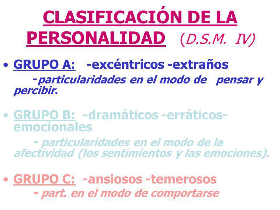 CLASIFICACIÓN DE LA PERSONALIDAD (D.S.M. IV)