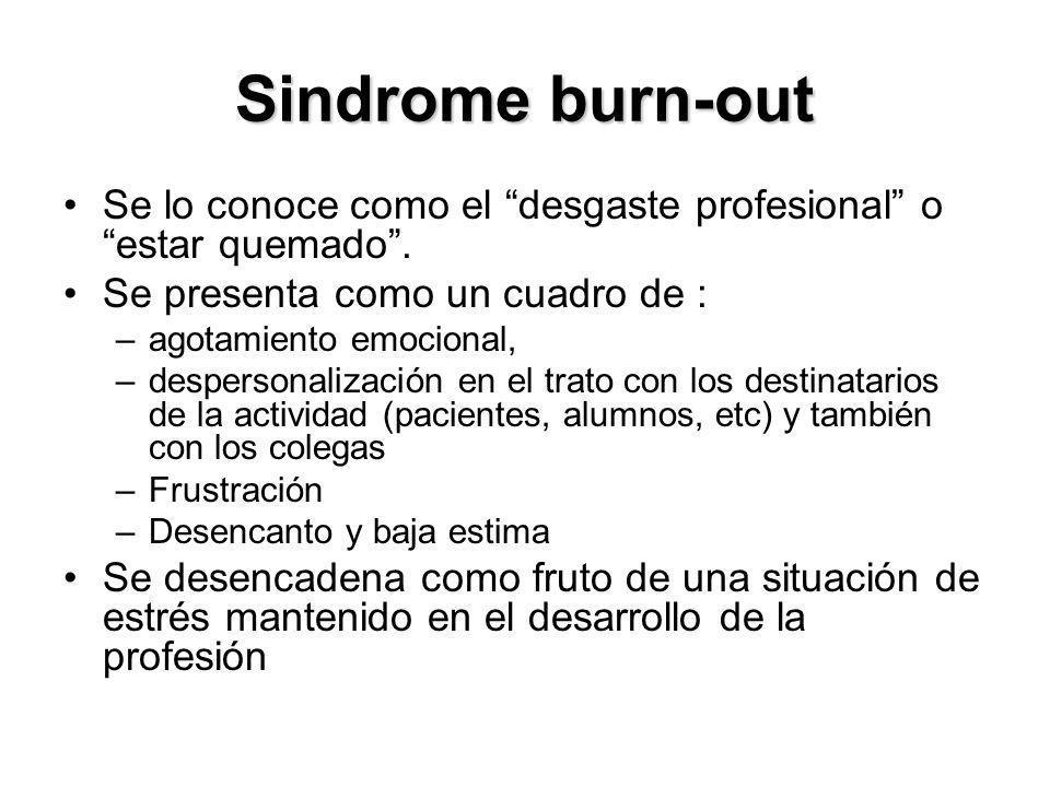 Sindrome burn-out Se lo conoce como el desgaste profesional o estar quemado . Se presenta como un cuadro de :