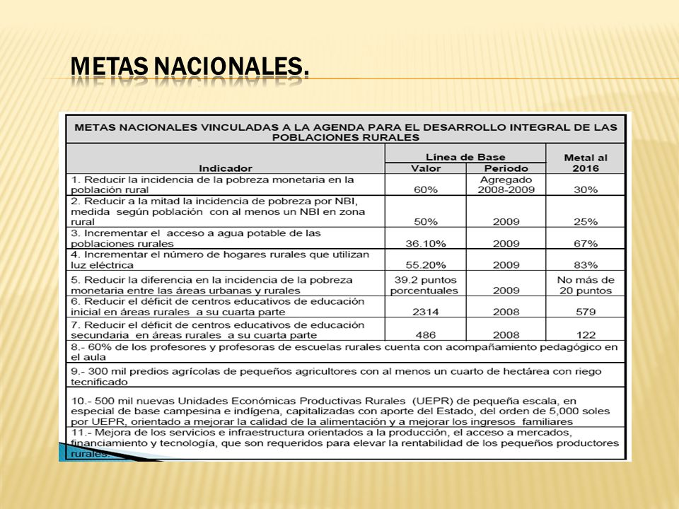 METAS NACIONALES.