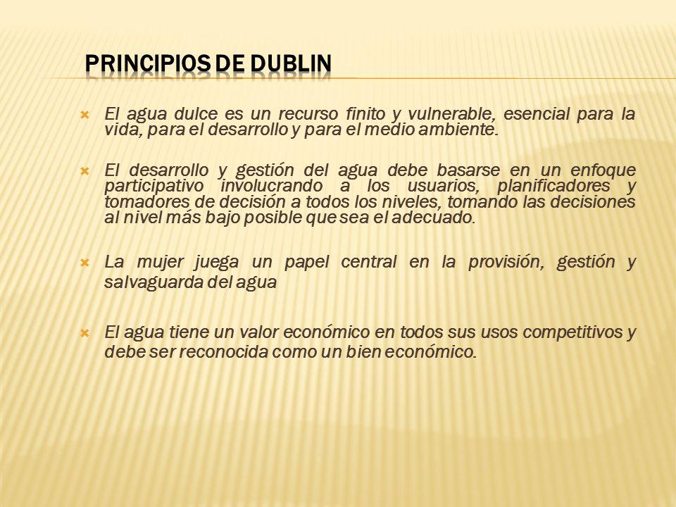PRINCIPIOS DE DUBLIN El agua dulce es un recurso finito y vulnerable, esencial para la vida, para el desarrollo y para el medio ambiente.