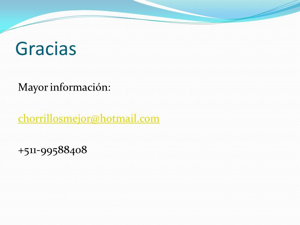 Gracias Mayor información: chorrillosmejor@hotmail.com +511-99588408