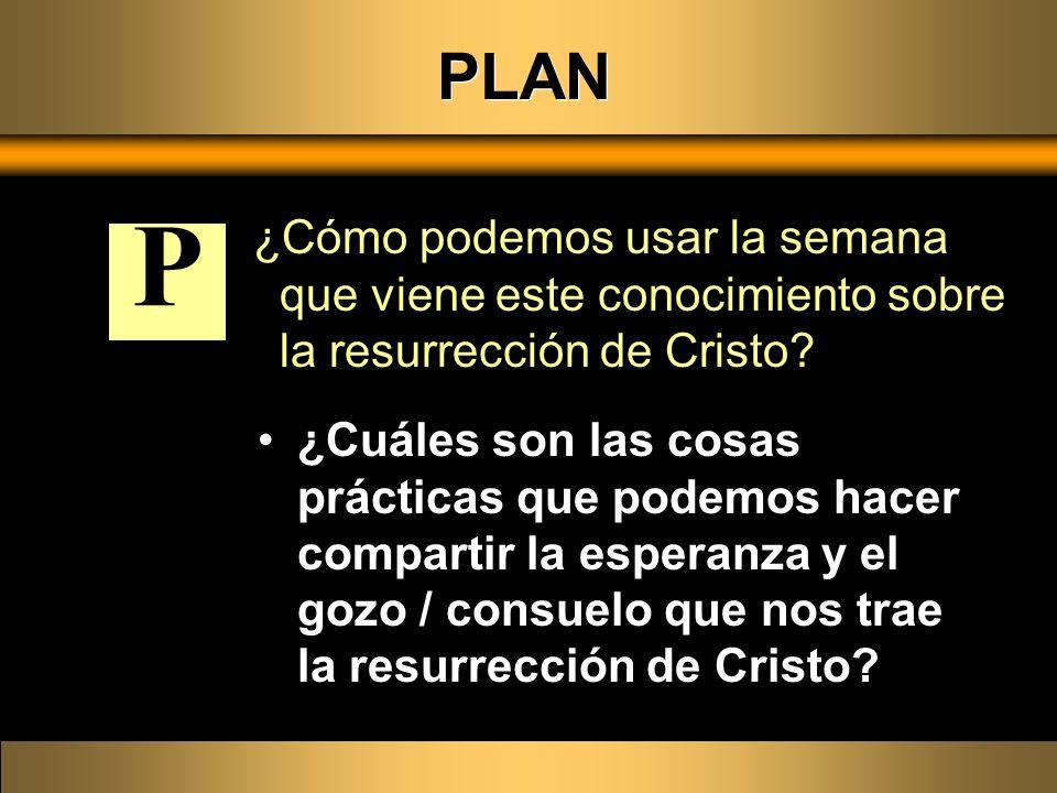 PLAN ¿Cómo podemos usar la semana que viene este conocimiento sobre la resurrección de Cristo P.