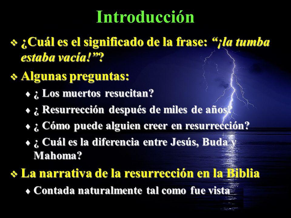 Introducción ¿Cuál es el significado de la frase: ¡la tumba estaba vacía! Algunas preguntas: ¿ Los muertos resucitan