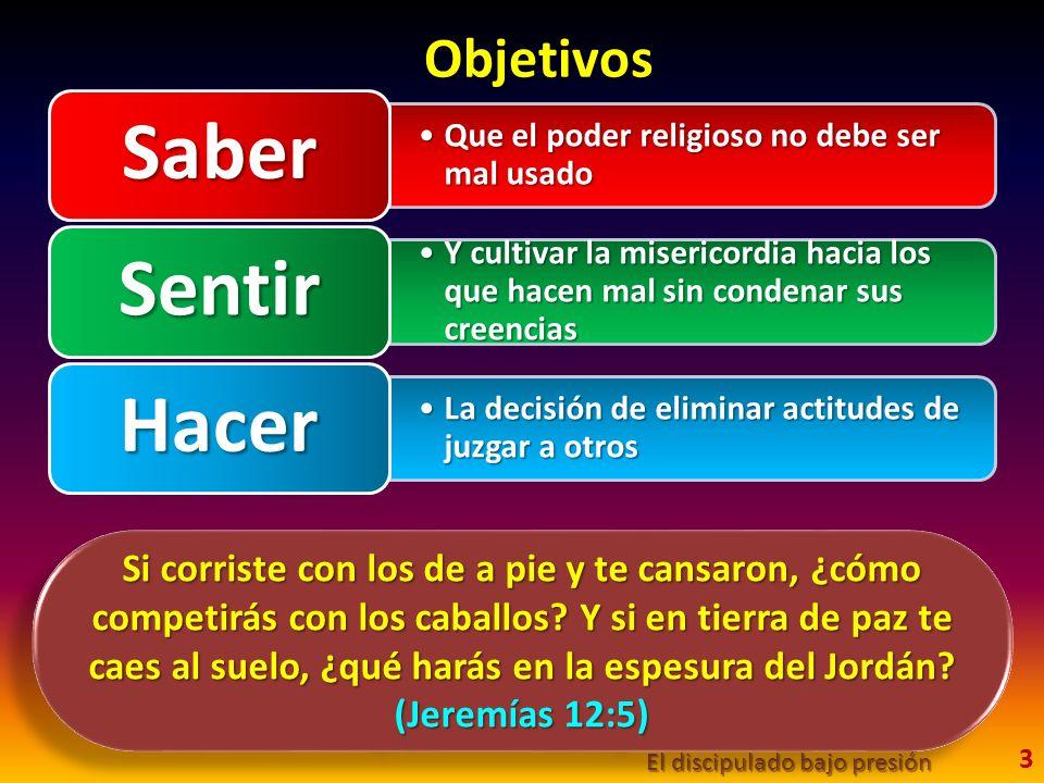 Objetivos Saber. Que el poder religioso no debe ser mal usado. Sentir.
