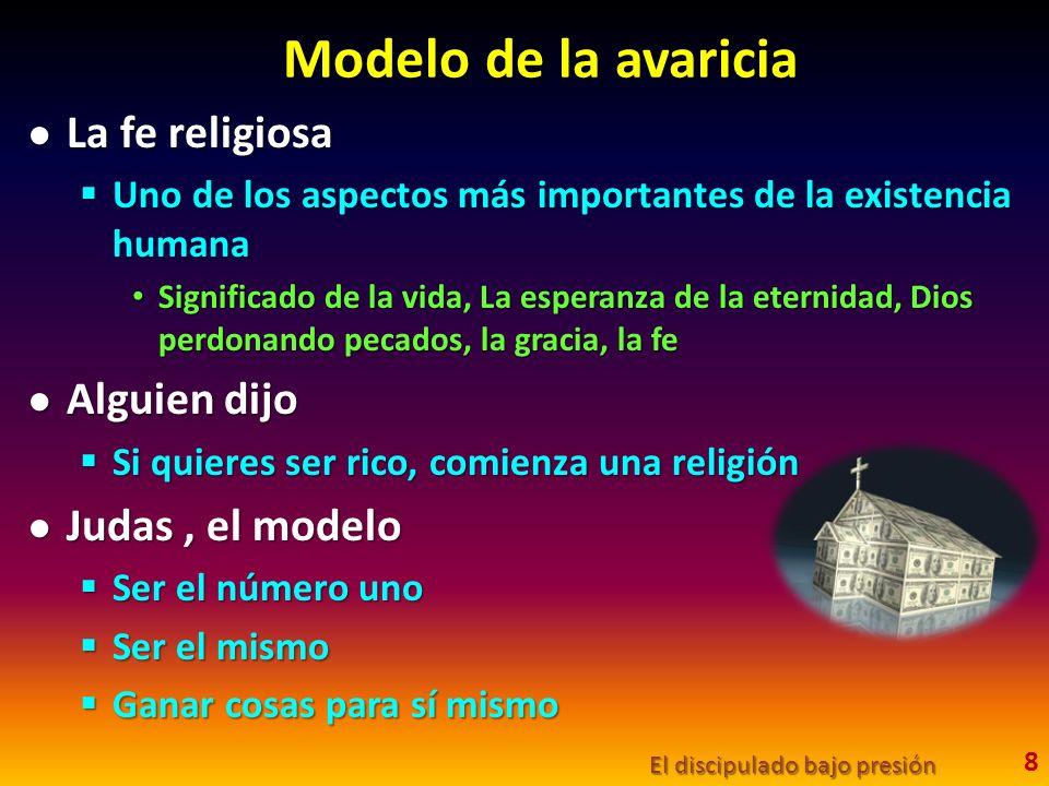 Modelo de la avaricia La fe religiosa Alguien dijo Judas , el modelo