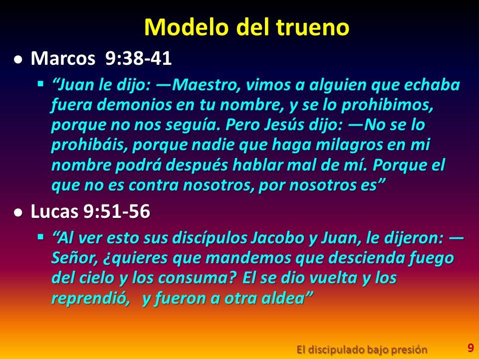 Modelo del trueno Marcos 9:38-41 Lucas 9:51-56