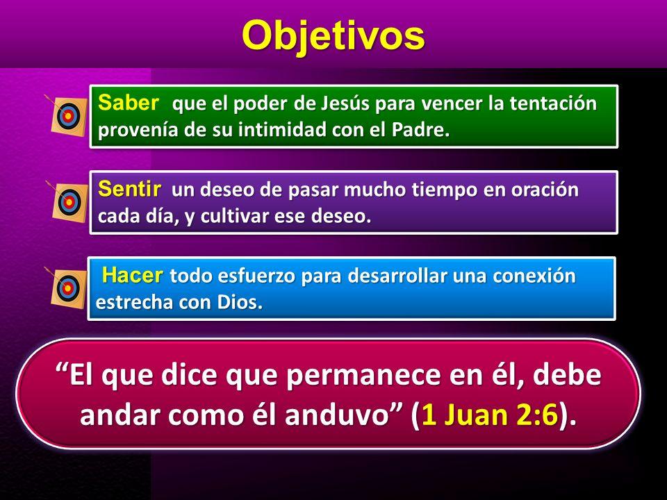 Objetivos Saber que el poder de Jesús para vencer la tentación provenía de su intimidad con el Padre.