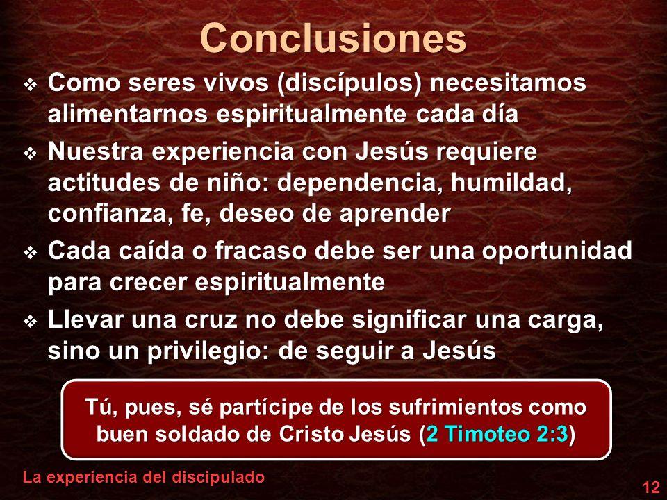 Conclusiones Como seres vivos (discípulos) necesitamos alimentarnos espiritualmente cada día.