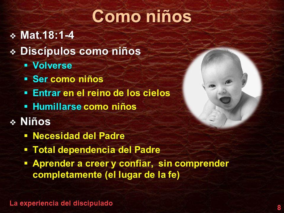 Como niños Mat.18:1-4 Discípulos como niños Niños Volverse