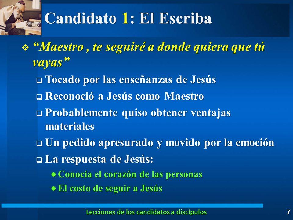 Lecciones de los candidatos a discípulos