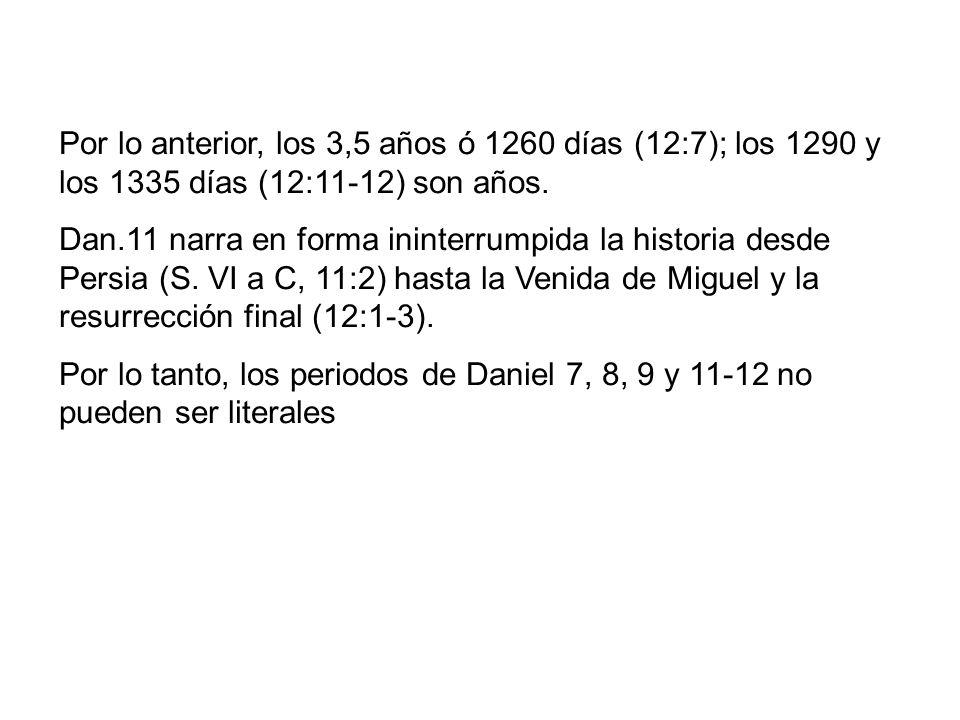 Por lo anterior, los 3,5 años ó 1260 días (12:7); los 1290 y los 1335 días (12:11-12) son años.